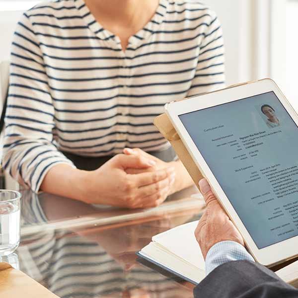 looking at a digital resume