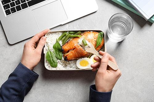 Healthy food at laptop