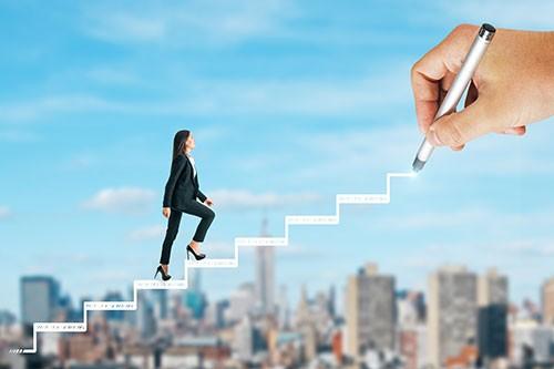 Womaning climbing career ladder